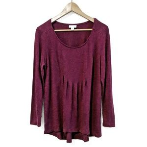 J. Jill | Pleated Front Burgundy Tunic Top | Med